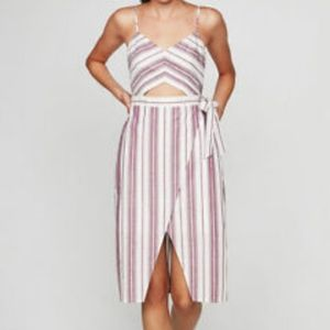 Express Striped Cut Out Midi Dress
